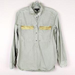 J. Crew | Green Gold Pocket Blouse
